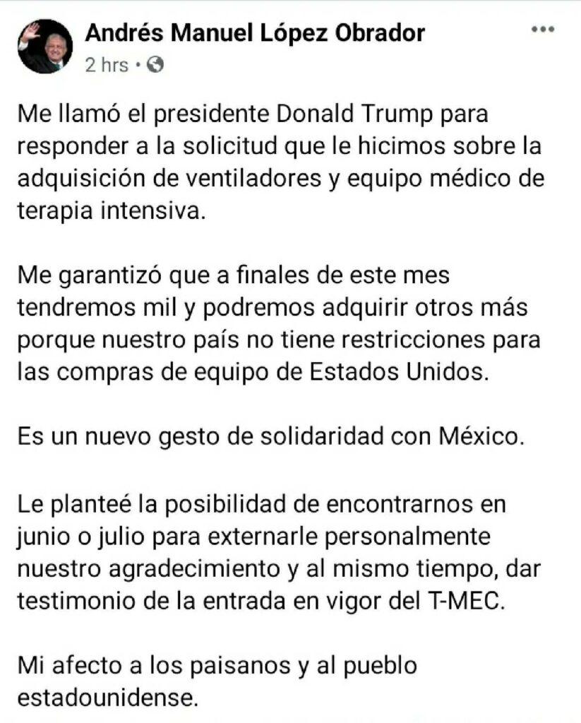 Mensaje de AMLO informando que Donald Trump garantiza mil ventiladores para México