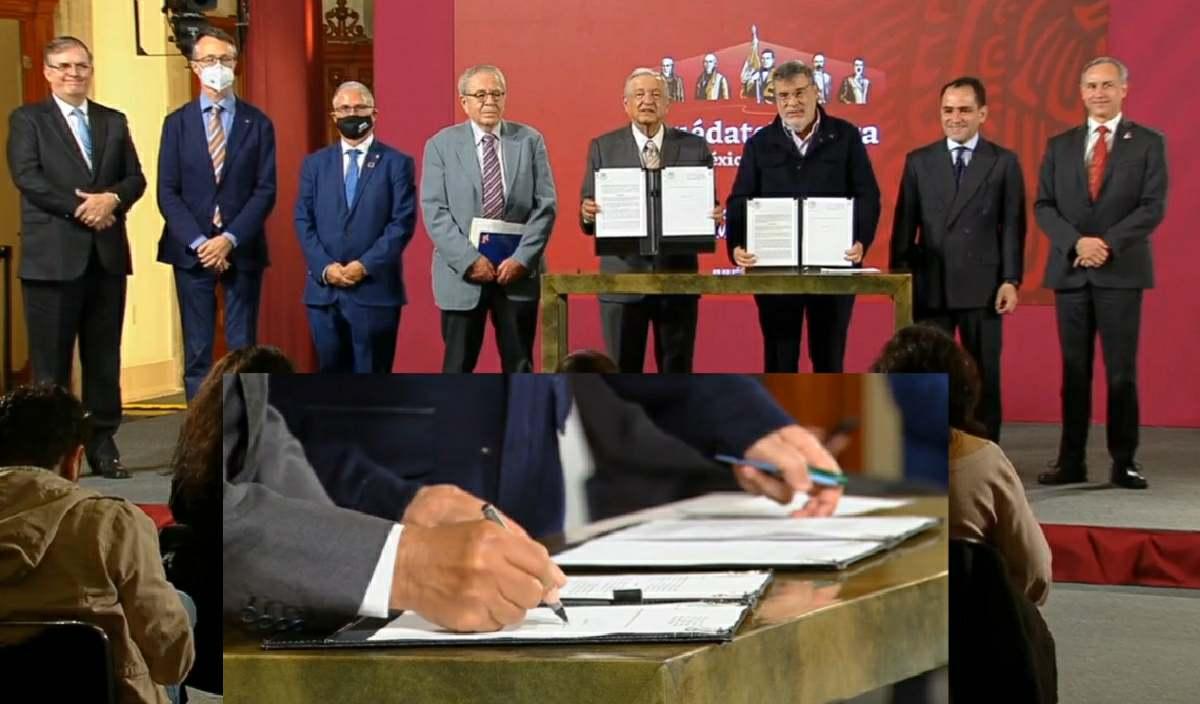 AMLO firma acuerdo para comprar medicamento a la ONU