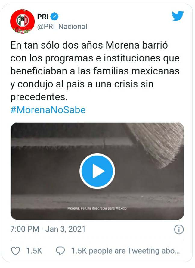 Publicación de PRI Nacional en Twitter